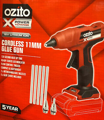 Glue Gun Ozito PXC 11mm 18V Cordless-Skin Only 5 x glue sticks 2 nozzls included