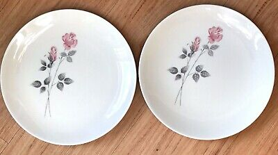 2 X Royal Doulton Pillar Rose Large Dinner Plates 10.5 Inches Unused Ex Con