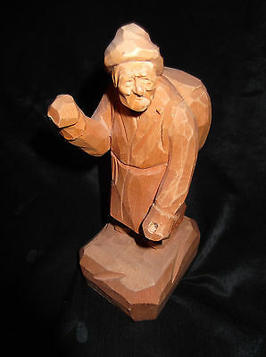 Vtg Pelletier OLD MAN WINTER WALK Folk Art Wood Carving Quebec Montreal Canada