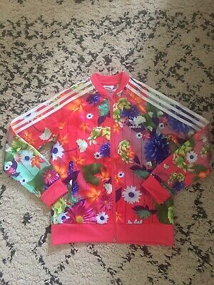 ADIDAS NEW Girls Floral Sports Zip Jacket 9-10YRS