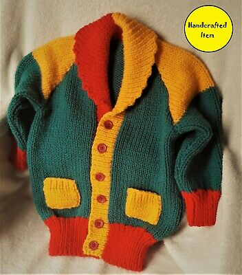 Children's colourful cardigan with shawl collar