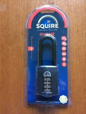 Henry Squire CP50/2.5 50mm Combination Padlock Lock 63.5mm Extra Long Shackle