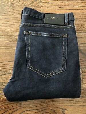 Zara Man Denim Dark Blue Indigo Cropped Skinny Slim Stretch Jeans Men's Sz 32