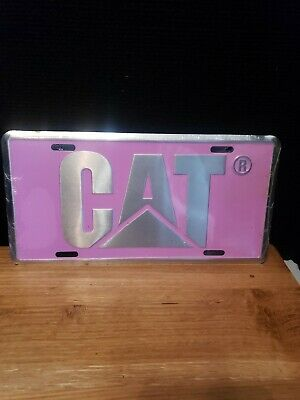CAT Aluminum Caterpillar Pink and Black License Tag with Logo Truck NEW