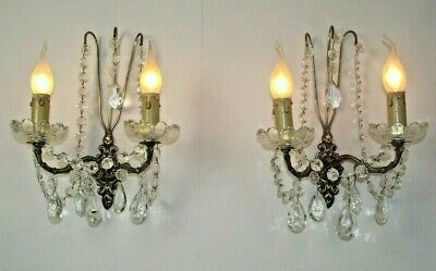 Stunning Pair Double Antique French Brass Crystal & Glass Wall Sconces 1605
