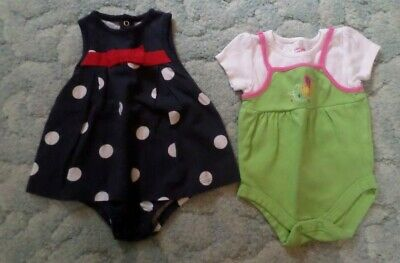 Lot Of 2 Child Of Mine/Garanimals Girls 6-9 Months One Piece Summer Outfits