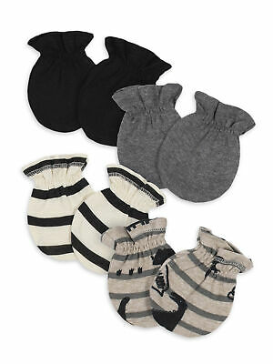Gerber Baby Boys 4 Pack Organic Cotton Mittens Size 0-3 Months NEW Dino, Stripe