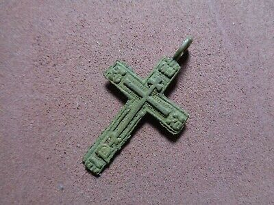 Russian empire old orthodox rare bronze pendant cross 1700-1800 AD original 277
