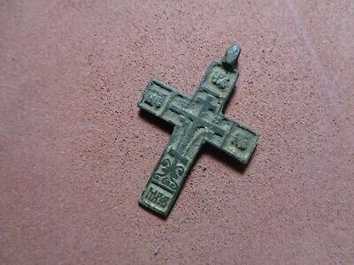 Russian empire old orthodox rare bronze pendant cross 1700-1800 AD original 280