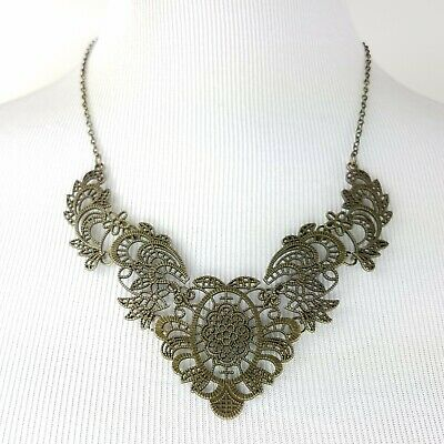 Victorian Collar Necklace Antique Bronze Setting Detailed Floral Design NEW