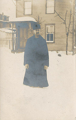 Duncannon PA * Man in Fur Hat in Snow RPPC 1907 * Perry Co.