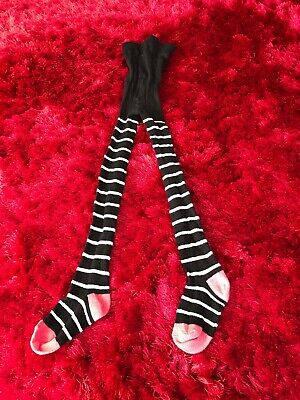 Black white silver striped tights girls age 2-3 years