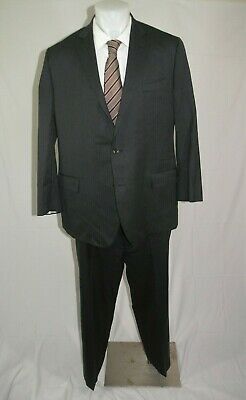 Brooks Brothers 1818 Fitzgerald Saxxon Charcoal Herringbone Two Button Suit 48L