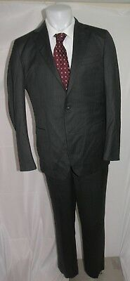 Brooks Brothers 1818 Fitzgerald Saxxon Charcoal Two Button Flat Front Suit 42L