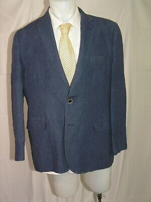 Brooks Brothers 1818 Fitzgerald Blue 100% Linen Two Button Blazer 44R