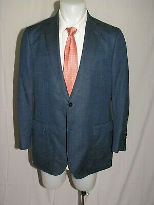 Brooks Brothers 1818 Fitzgerald Silk Blend Blue Hopsack Two Button Blazer 42R