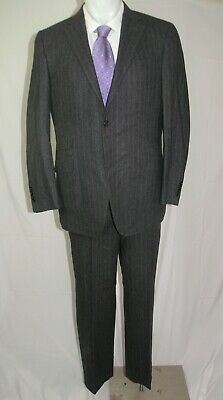 Canali Cashmere Blend 14225 Charcoal Striped Flannel Weight Two Button Suit 40R