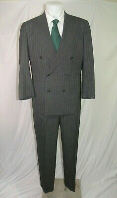 Chester Barrie Savile Row Gray Chalkstripe Double Breasted Suit 40R