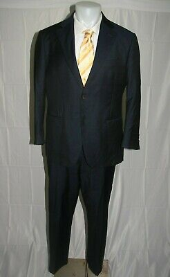 Suitsupply Napoli INTL Zignone Super 100 Solid Navy Blue FF Two Button Suit 42S