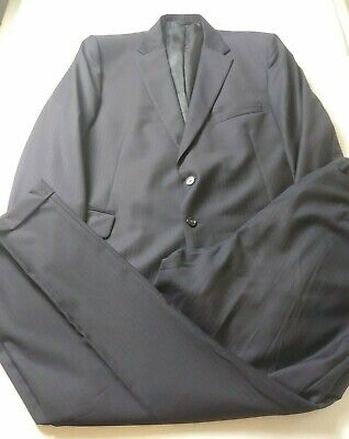 H. Freeman Mens Suit Size 46R (Pants 40x31) Black Striped Two Button Vented Wool