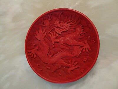 Chinese Red Cinnabar Lacquer Dragon Phoenix Decorative Plate 6 Inches