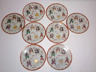Antique Japanese Kutani Samurai Plate Set of Eight Dishes Six Warriors Battle