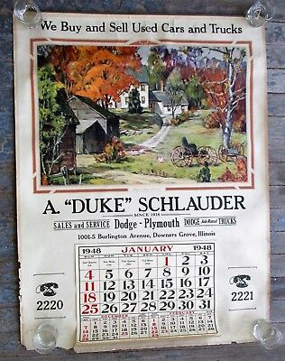 1940s Dodge Plymouth Car Dealership Calendar VTG Automobile Advertising Poster