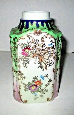 Antique Chinese Japanese Export Porcelain Tea Caddy Flask Jar Signed Butterfly