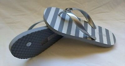 Michael Kors Gray And White Striped Flip Flops With Mk Charm,  Size 7