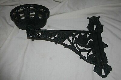 Vintage Cast Iron Oil Lamp Wall Bracket Sconce Plant Hanger