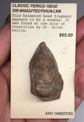 Pre-Columbian Terracotta Teotihuacan Artifact Head Fragmented ZOOMORPHIC