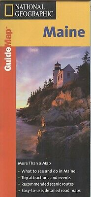 National Geographic Maps MapQuest State Guide MAINE c.1999 - laminated