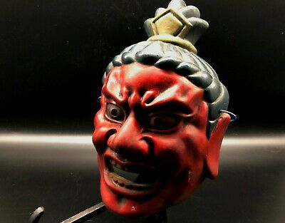 "Japanese old ""Nio"" vintage pottery mask /Antique demon hannya omen oni noh asian"