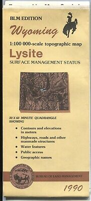 USGS BLM edition topographic map Wyoming LYSITE 1990