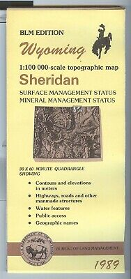USGS BLM edition topographic map Wyoming SHERIDAN mineral and surface 1989