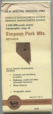 USGS BLM edition topographic map Nevada SIMPSON PARK MTS. 1981 mineral