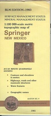 USGS BLM edition topo map SPRINGER New Mexico 1983 - mineral - RATON SE/4 - 100K