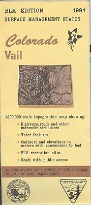 USGS BLM edition topographic map Colorado VAIL 1994 surface only