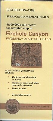 USGS BLM edition topographic map -FIREHOLE CANYON- Wyoming WY UT CO - 1988 100K
