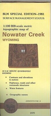 USGS BLM edition topographic map Wyoming NOWATER CREEK 1981 ARMINTO NW/4