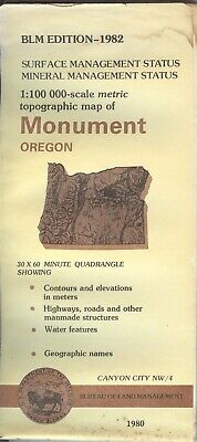 USGS BLM edition topographic map Oregon MONUMENT 1982 CANYON CITY mineral