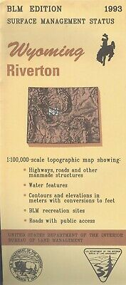 USGS BLM edition topographic map Wyoming RIVERTON 1993