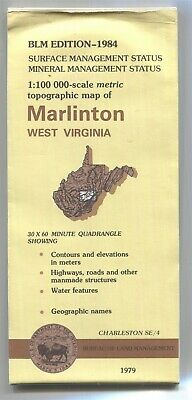 USGS BLM edition topo map West Virginia MARLINTON 1984 Charleston SE/4 - mineral