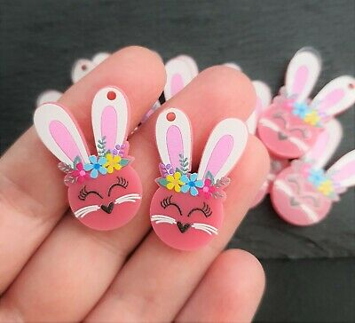 Bunny Charm Pair Pink Acrylic Charms 16x30mm Laser Cut Easter Earring Supplies