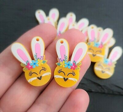 Bunny Charm Pair Yellow Acrylic Charms 16x30mm Laser Cut Easter Earring Supplies