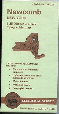 USGS Topographic Map NEWCOMB - New York - provisional 1989 - 25K -