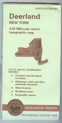 USGS Topographic Map DEERLAND New York - 1989 provisional - 25K -