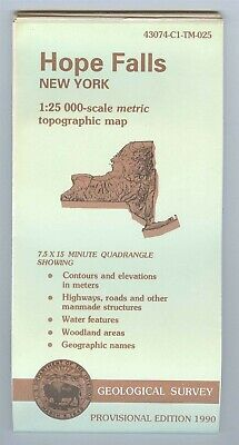 USGS Topographic Map HOPE FALLS - New York - 1990 provisional - 25K -