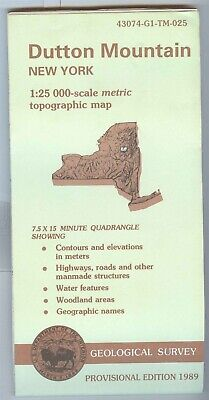 USGS Topographic Map DUTTON MOUNTAIN - New York - 1989 provisional - 25K -