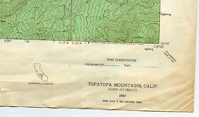 USGS Topo Map TOPA TOPA MOUNTAINS Ventura County California 1943/1967 24K 7.5